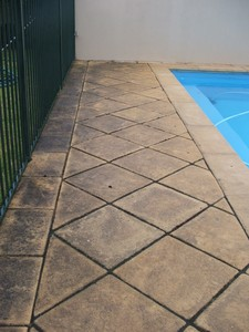 Pool pavers with mould and algae staining