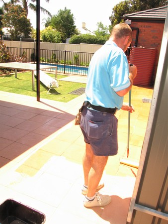 Nonslip treatments being applied to pavers