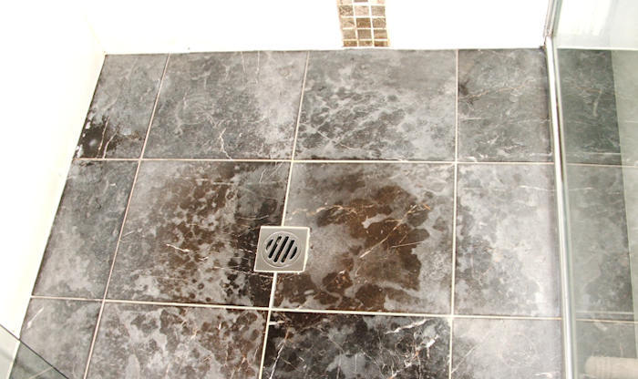 Emperador dark marble that has been cleaned with vinegar