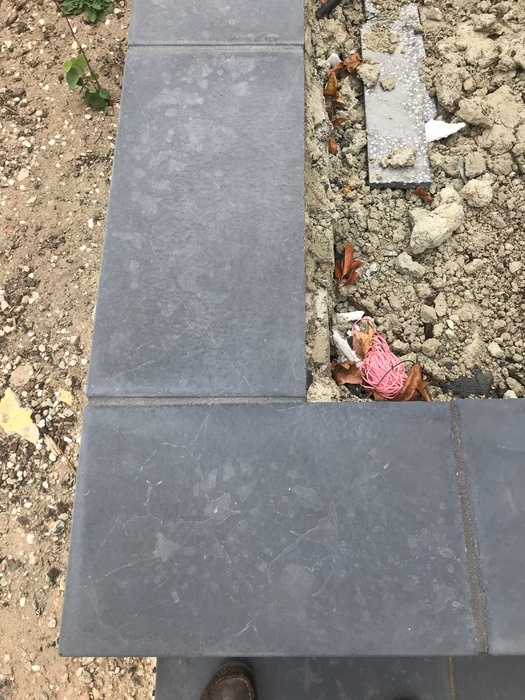 Pavers stained during installation