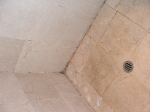 Limestone bathroom tiles dull and dirty